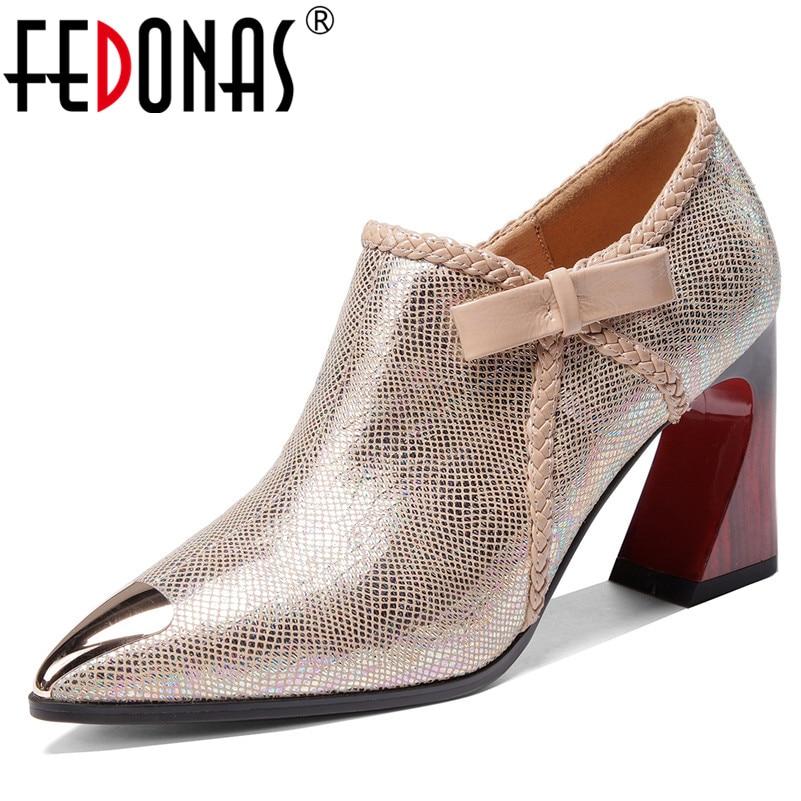FEDONAS 2020 الربيع جودة الخرفان الكعوب غريبة النساء مضخات الجانب سستة روما أحذية امرأة الإناث أنيقة حزب مكتب الأحذية
