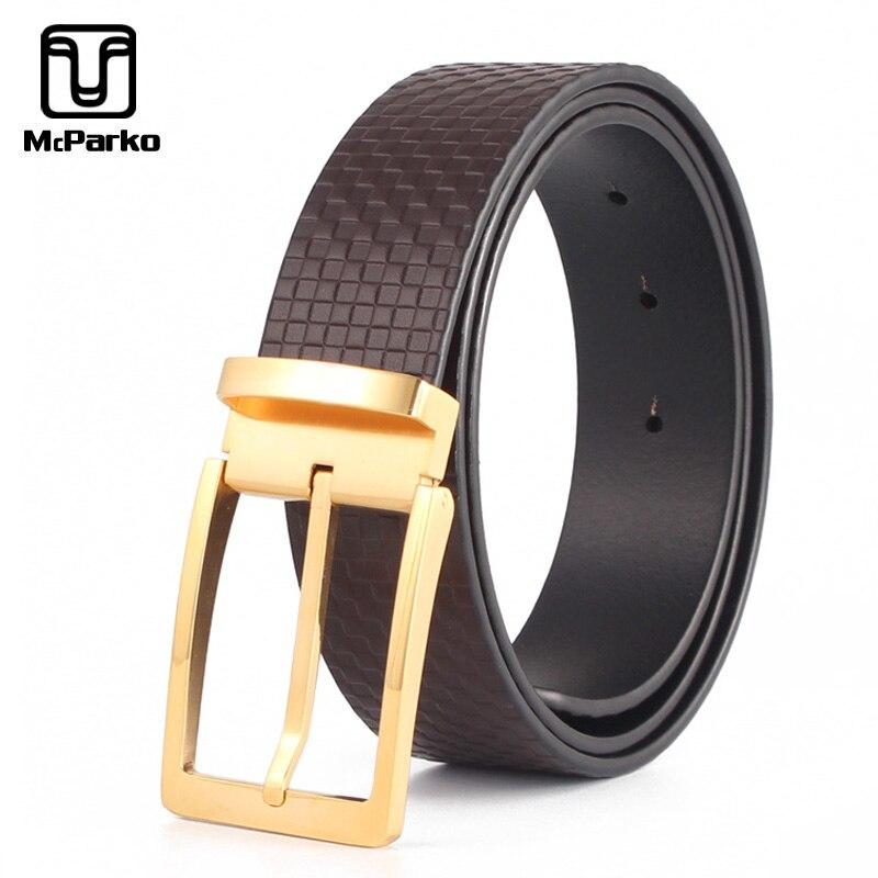 Cinturones de cuero genuino para hombre, cinturón a cuadros a la moda de piel de vaca de lujo, correa de cuadros para hombre, marca de lujo, hebilla Pin, cinturones para traje para hombre