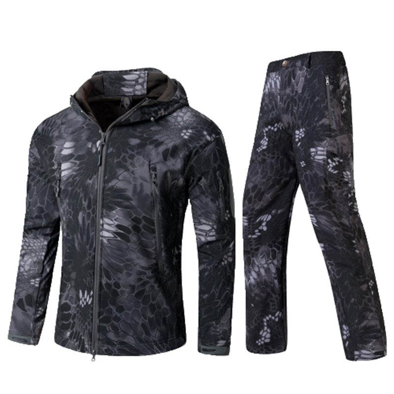Outdoor Tactical Military Jacket Men TAD Softshell Fleece Camouflage Waterproof + Pants Camping Hiking Hunting Sport Suit
