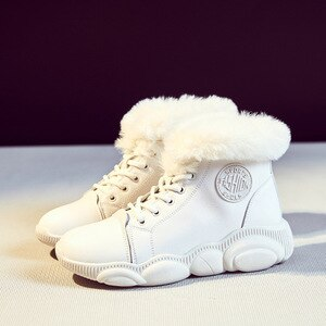 SWYIVY Winter Fur Snow Boots Women High Top White Shoes 2020 New Warm Ankle Boots For Women Casual Winter White Shoes
