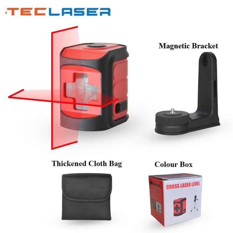 Nivelador láser de dos líneas TECLASER, nivelador láser de nivelación automática, Láser de medición de nivel láser rojo/Rayo verde, herramienta de construcción