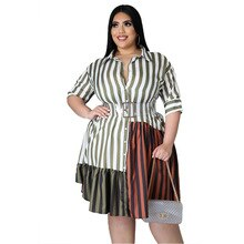 Plus Size Women Shirt Dress 2021 New Fashion Striped Short Sleeve Summer Dress Turn Down Collar Loos