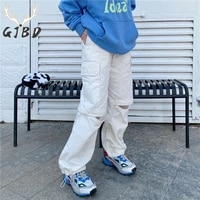 stretchy waist women casual pants 2021 summer street straight baggy detachable work clothes style pants vintage wide leg trouser