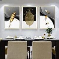 Toile de peinture abstraite de feuilles dorees  plume doiseau  Art mural  affiches et imprimes nordiques en noir  image pour salon  decoration de la maison