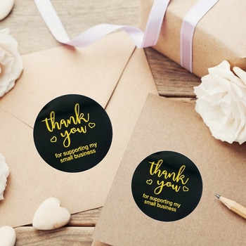 500pcs Gold Foil Thank You Stickers 2