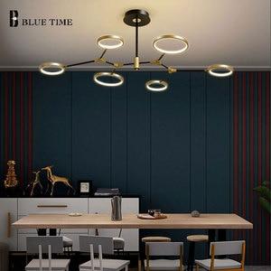 Современный светодиодный подвесной светильник, комнатные светильники золотого и черного цвета для столовой, гостиной, кухни, подвесные лам...