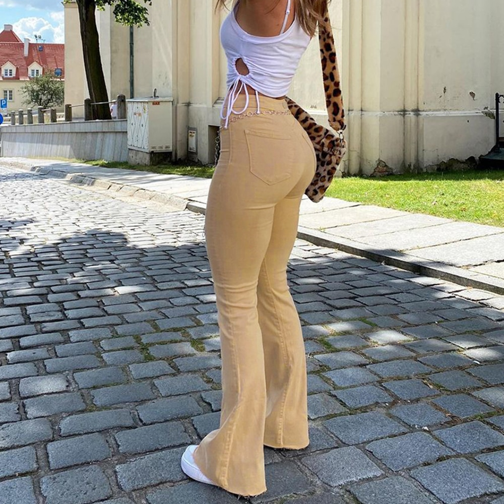 Women's jeans woman high waist Flared Jeans Khaki Black Brown Pants Women's pants for women clothing trouser Jean women trousers