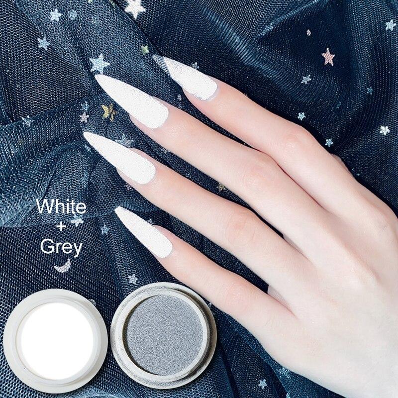 MIZHSE-esmalte de uñas de Color gris y blanco, barra de polvo súper brillante reflectante, pigmento en polvo brillante para discoteca, 20g