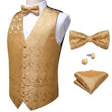 Robe formelle or bleu noir Paisley mariage costume gilet formel affaires hommes smoking gilet gilet costume nœud papillon ensemble DiBanGu