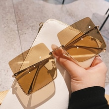 New Sunglasses Women Luxury Vintage Sun Glasses Oversized Frame Square Metal Semi Rimless Half Frame