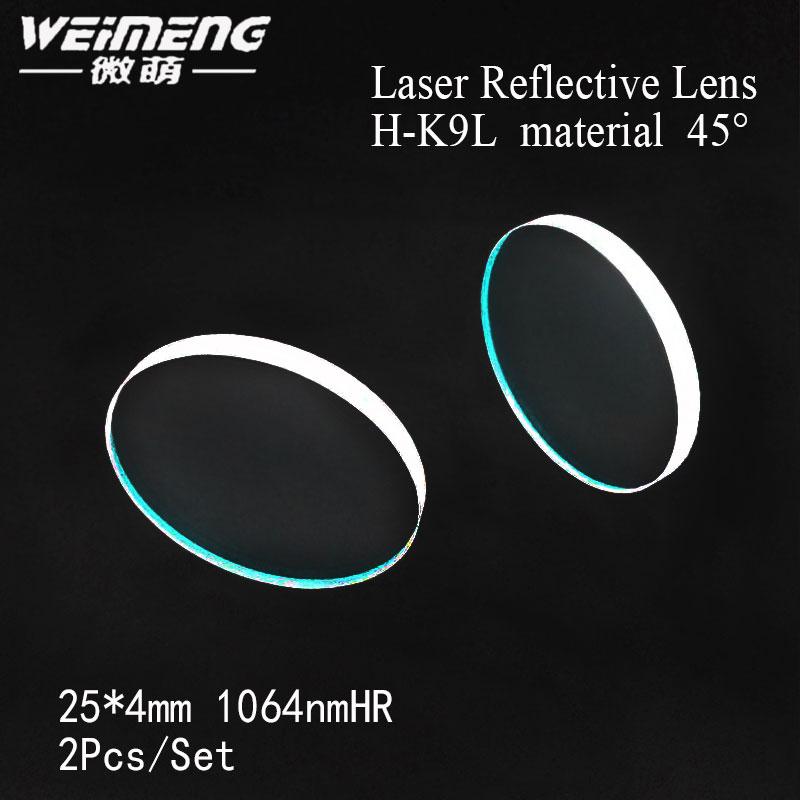 Marca Weimeng 45 grados 25*4mm H-K9L material 1064nmHR láser espejo lente reflectante para corte láser máquina de marcado de soldadura