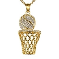 trendy mens luxury basketball frame pendant necklace hip hop personality inlaid zircon sports necklace accessories gift
