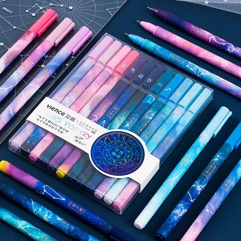 12 pçs/caixa céu estrelado roxo constelação série conjunto caneta gel criativo papelaria presentes tinta preta canetas escola material de escritório