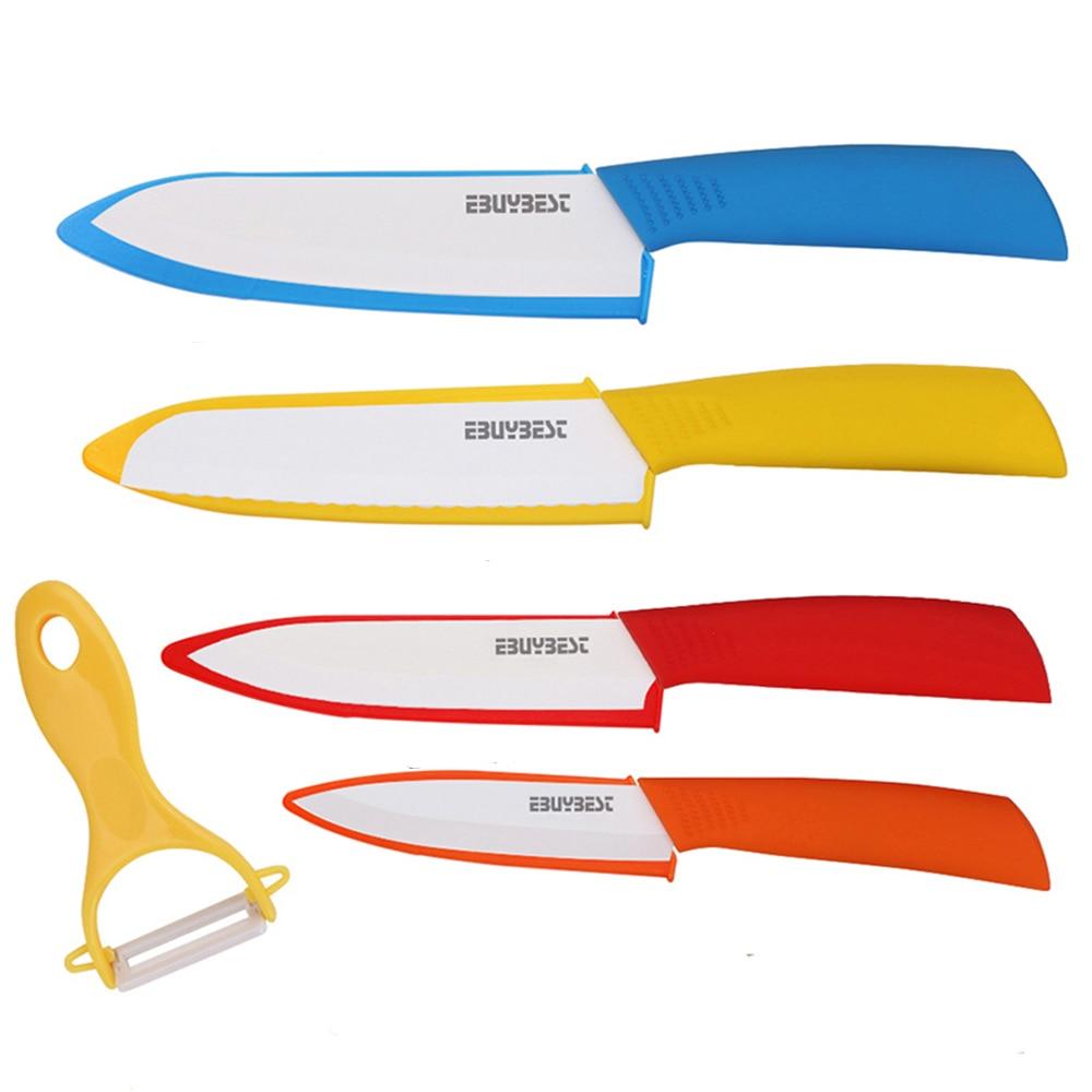 """Juego de cuchillos de cerámica 4 """"rebanador 5"""" verduras 6 """"Cuchillo de pan 6"""" Cuchillo de Chef + pelador hoja blanca cuchillo de cocina herramientas de cocina"""