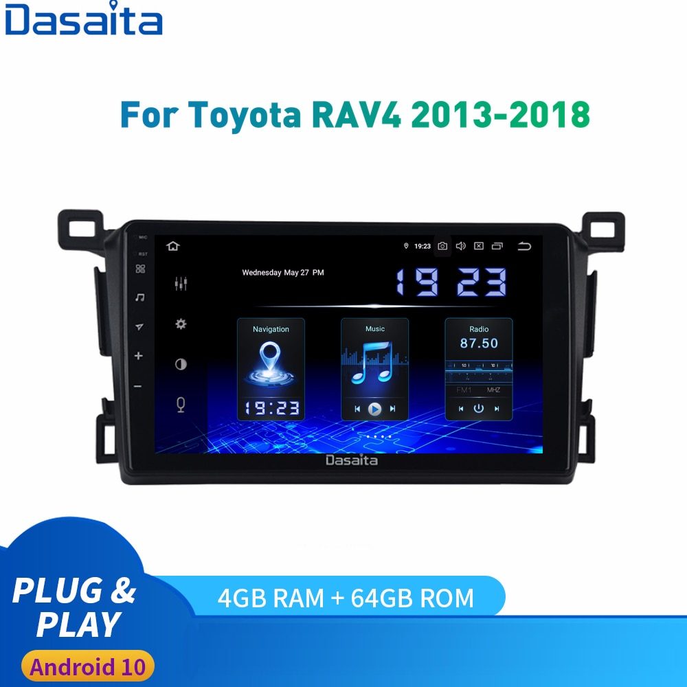 Dasaita Android 10 GPS para coche Radio Toyota RAV4 RHD / LHD Multimedia estéreo 2013 a 2018 DSP IPS 1028*720 Carplay HDMI 4Gb + 64Gb