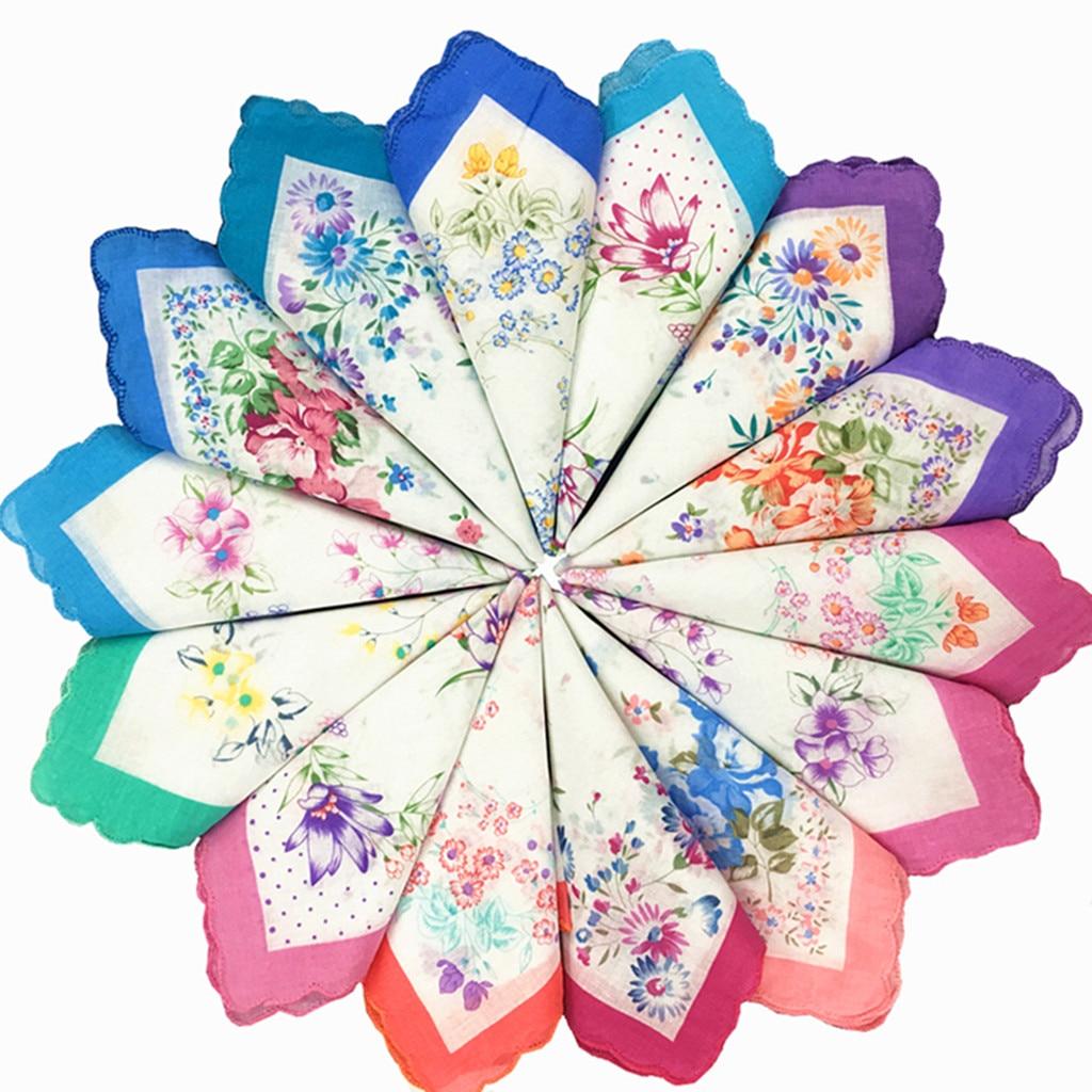 12 шт., Женский хлопковый цветочный носовой платок, винтажный цветочный принт, Женский носовой платок, Карманный платок, набор оптом