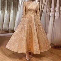 muslim gold sparkle ankle length beading evening dresses gowns 2021 a line for women party wear robe de soir%c3%a9e de mariage