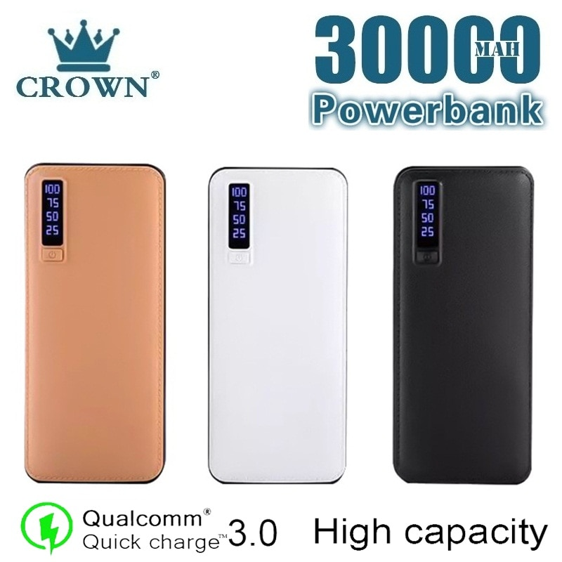 30000 mAh Power Bank Portable Phone Charger LED Light Digital Display Outdoor Travel Powerbank for I