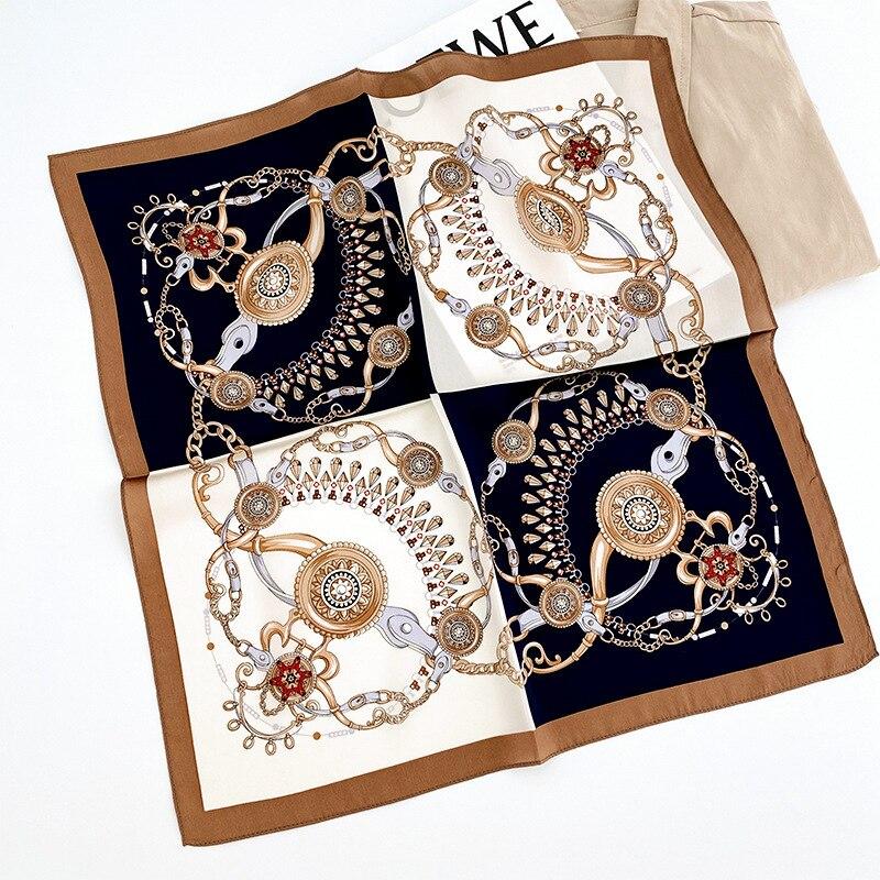 Bufanda de seda pura de 100%, pañuelo de rayas para mujer, pañuelo cuadrado pequeño con estampado de moda 2020, pañuelo, pañuelo, Hijab