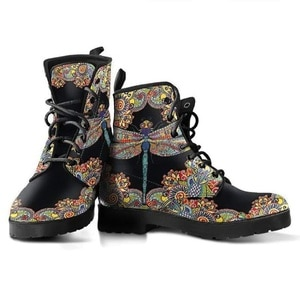 Women's Shoes Handmade Art 3D Printing Colorful Dragonfly Round Head Comfortable Lace-up Leather Boots