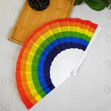 2019 Nieuwe Fan 1 Pc Rainbow Hand Held Folding Fan Dance Voor Gay Pride Partijen Decoratie Fan Art Craft Decor abanicos De Mano HH4