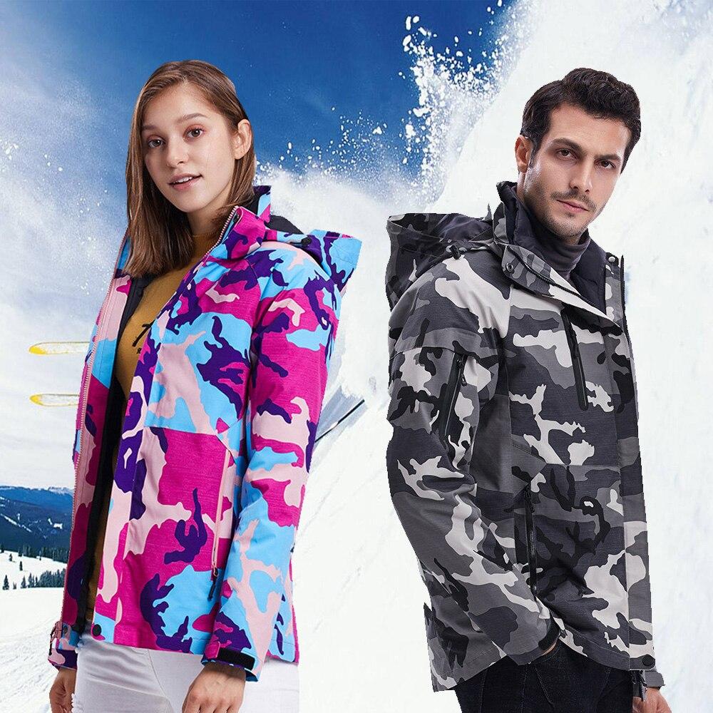 Лыжный костюм для мужчин и женщин, зимние теплые ветрозащитные водонепроницаемые спортивные зимние куртки для улицы, горячее лыжное снаряж...