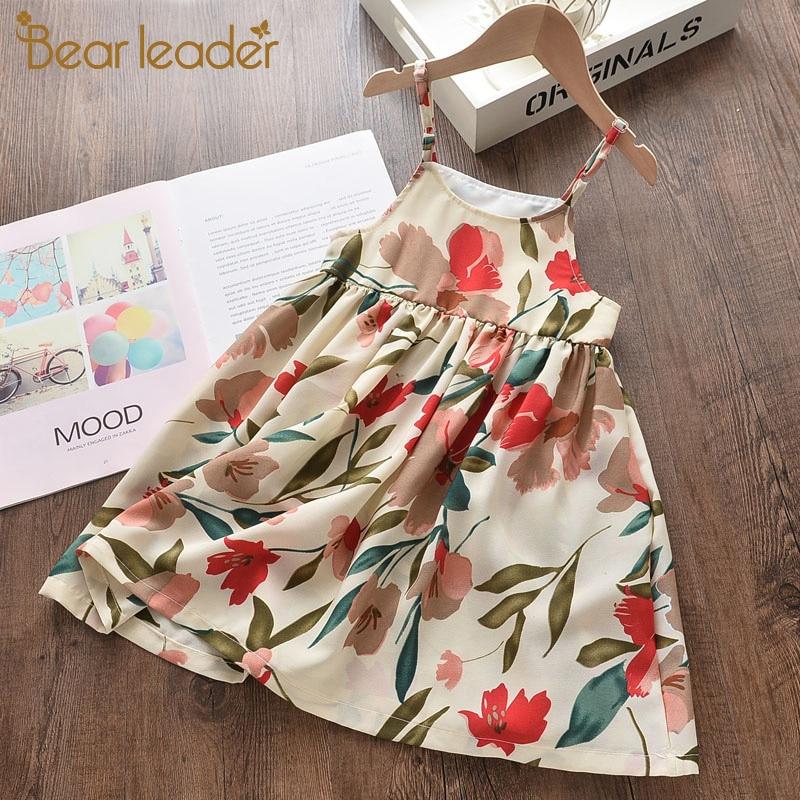 Bear Leader Girls Flowers Dress 2020 New Fashion Summer Kids Sling Dress Prom Gown Girl Floral Elegant Vestidos Baby Suits 3 7Y