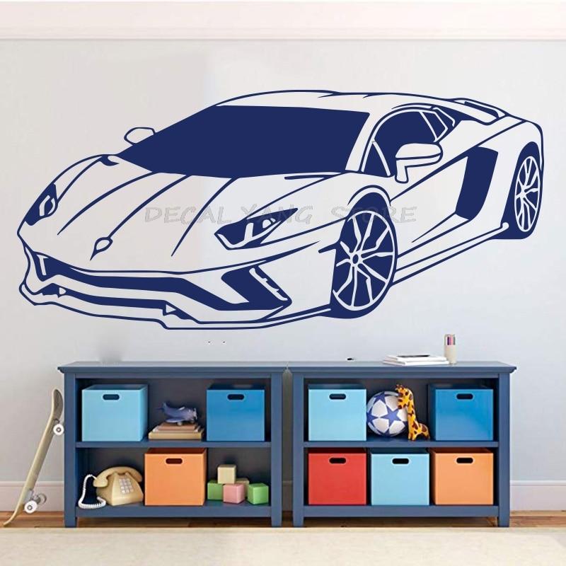 ملصق حائط كبير لمركبة سباق Lamborghini ، ملصق سيارة رياضية لغرفة النوم ، سيارة سباق من الفينيل للمنزل ، غرفة اللعب ، 1597