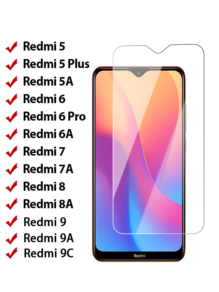 9H Tempered Glass for Redmi 9 9A 9C 8 8A 8C 7 7A 6 6A 5 5A 4A 4X 3S Screen Protector on Xiaomi Redmi Note 4 4X 5 7 Pro 8 K20 Pro