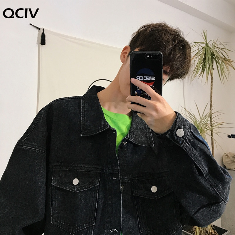 Autumn winter new trendy Japanese retro men's large size loose tooling denim jacket student teenagers coat gown top  - buy with discount