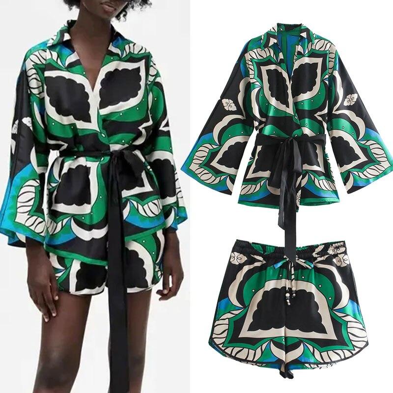 مجموعة سراويل الموضة النسائية Za 2021 بلوزات طويلة الأكمام طباعة حزام قميص + السراويل عالية الخصر قطعتين مجموعة عادية