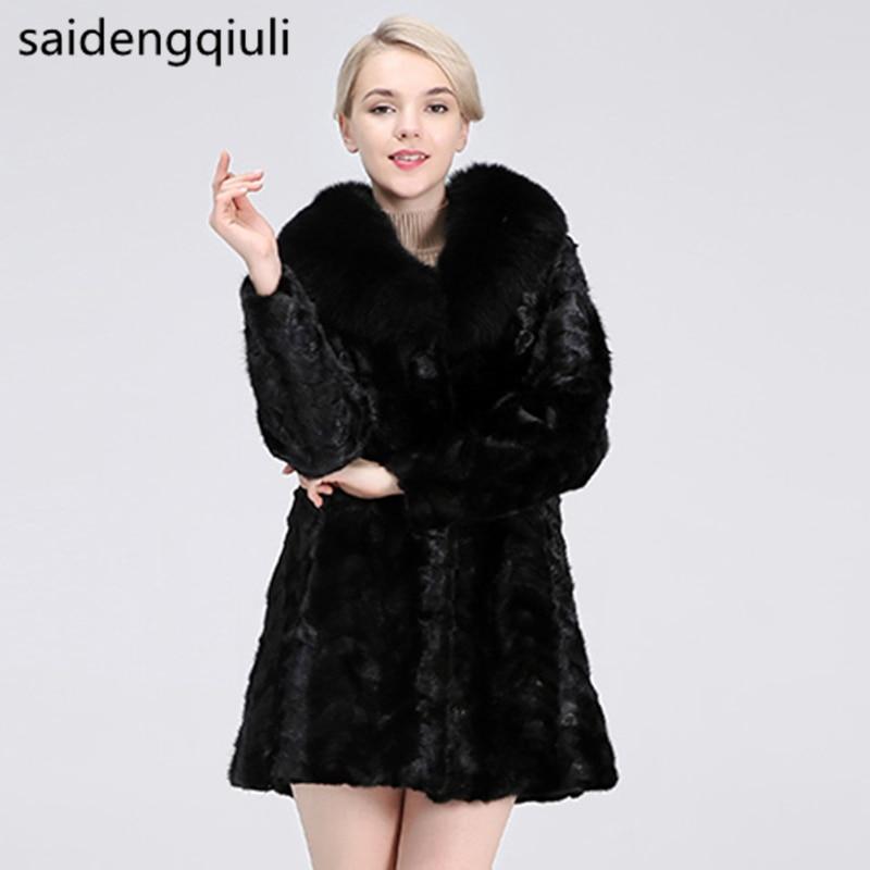 2019 new real mink fur coat jacket, natural mink coat,fox collar 90 cm length woman winter warm jacket Genuine Leather Coat