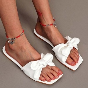 Women Sandals Summer Slip On Women's Sandals Peep-Toe Bow Flats Shoes Woman Sandals For Women Ladies Women Shoes Sandalias Mujer