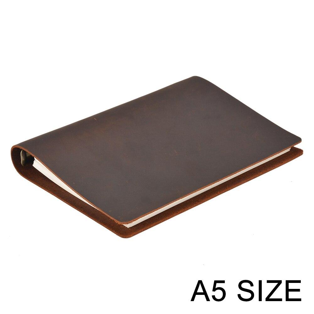 Gran oferta cuaderno de negocios clásico A5 cubierta de cuero genuino hoja suelta agenda diario de viaje planificador de bocetos