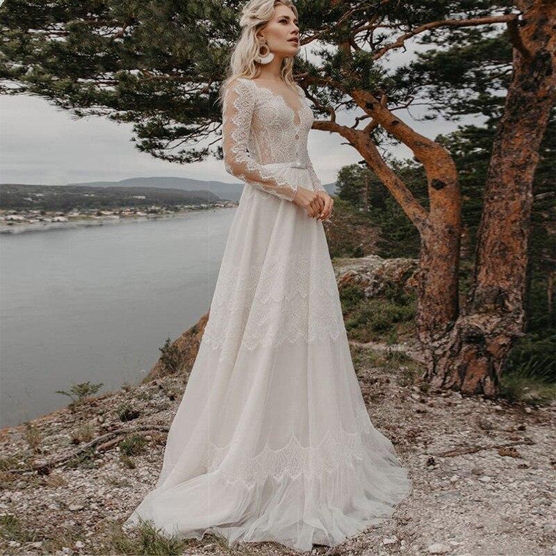 Review Elegant Bohemian Lace Wedding Dresses 2021 V Neck Long Sleeve Applique A Line Illusion Tulle Vestidos De Noiva Bridal Gown Cheap