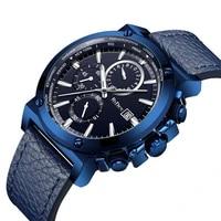 biden sport mens watch 2019 casual fashion male watches noble blue genuine leather strap top brand quartz waterproof wristwatch