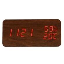 Reloj despertador Led moderno, relojes de mesa digitales de escritorio electrónicos con temperatura, humedad, Marrón + rojo