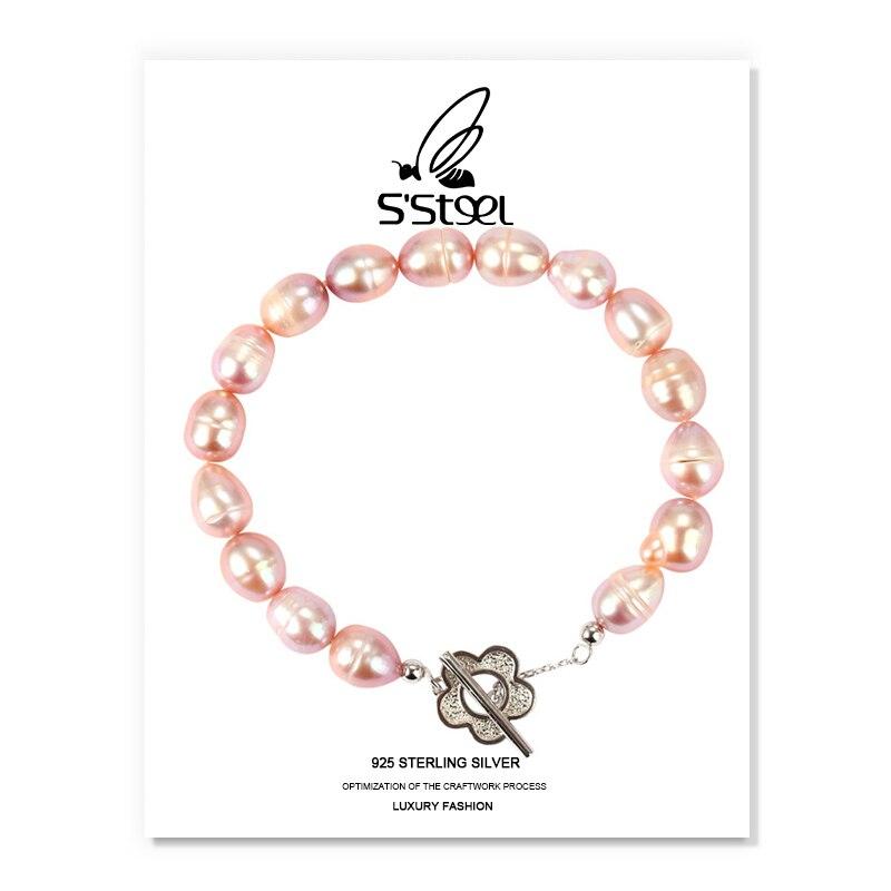 SSTEEL Charm Bracelet For Women 925 Sterling Luxury Designer Baroque Pearl Bracelets Bijoux Femme Argent Fine Jewelry Gift