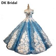 Sexy Sky Blue/Pink White Flowers Ball Gown Quinceanera Dresses 2019 Luxury Appliques Debutante Dress for Vestido de 15 anos