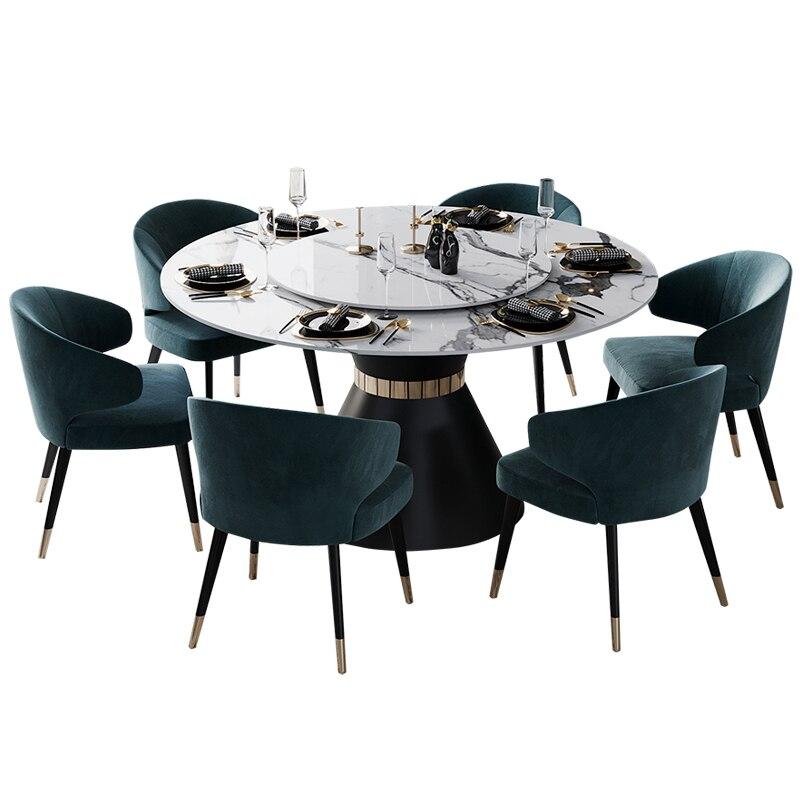 stone marble round swiveling dining table set Nordic modern comedor sillas de comedor mesa comedor muebles de madera mesa de jan