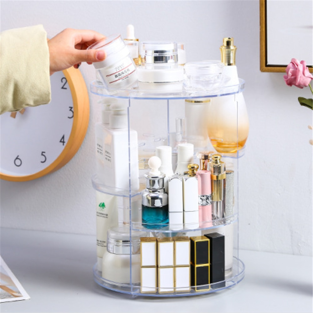 Rotating Makeup Box Portable Cosmetics Storage Rack Adjustable Cosmetic Holder Skin Care Product Org