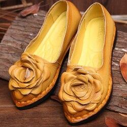 Sapatos femininos de couro genuíno artesanal do vintage sapatos femininos apartamentos flor casual mocassins confortável fundo macio sapatos mãe senhoras