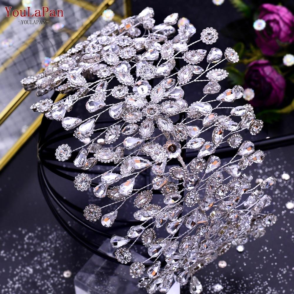 YouLaPan HP388 كامل الماس الزفاف الشعر تيارا اليدوية حجر الراين قبعة الزفاف الفضة اللون غطاء الرأس اكسسوارات الزفاف