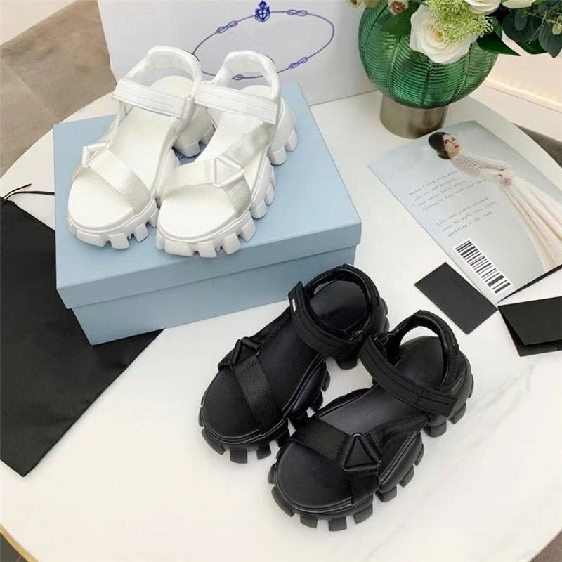Women New Sandals Cloudbust Real Leather Slippers hook and loop fastener Increase high Platform Sandal Thunder Thick Bottom enlarge