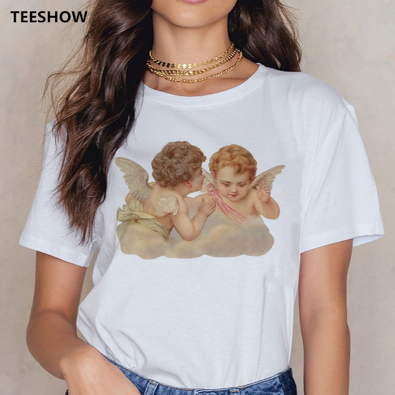 Angel 90s moda camiseta mujer dibujo Kawaii manga corta o-cuello camiseta Vintage Vogue Ullzang camiseta Casual Top Camisetas Mujer