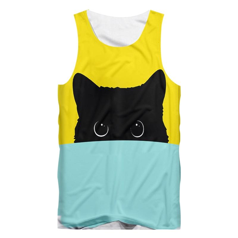 Женские и мужские майки с забавным 3d принтом UJWI, желто-синий жилет с милым котом, мужские хип-хоп панк футболки без рукавов