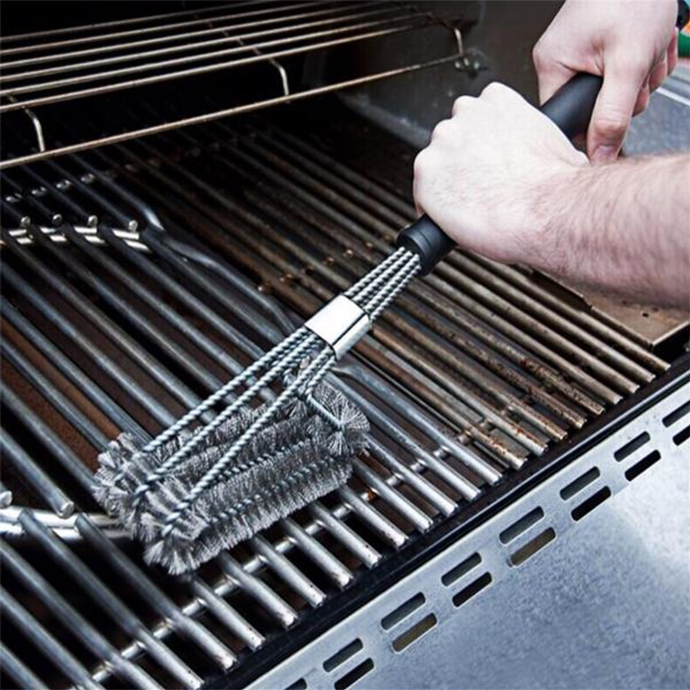 Stainless Steel BBQ Barbecue Brush 18 Inch Three Wire Oven Grill Rack Cleaning