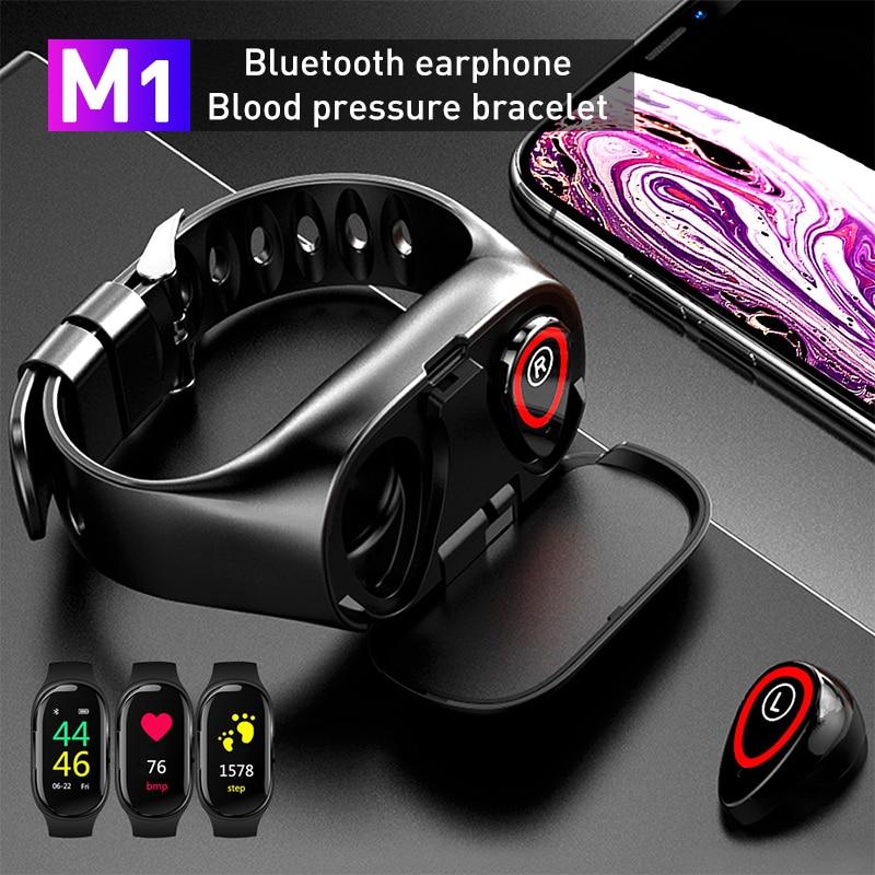 Auriculares TWS M1, inalámbricos por Bluetooth para teléfono, reloj inteligente con Monitor de ritmo cardíaco, auriculares estéreo inalámbricos genuinos para deporte