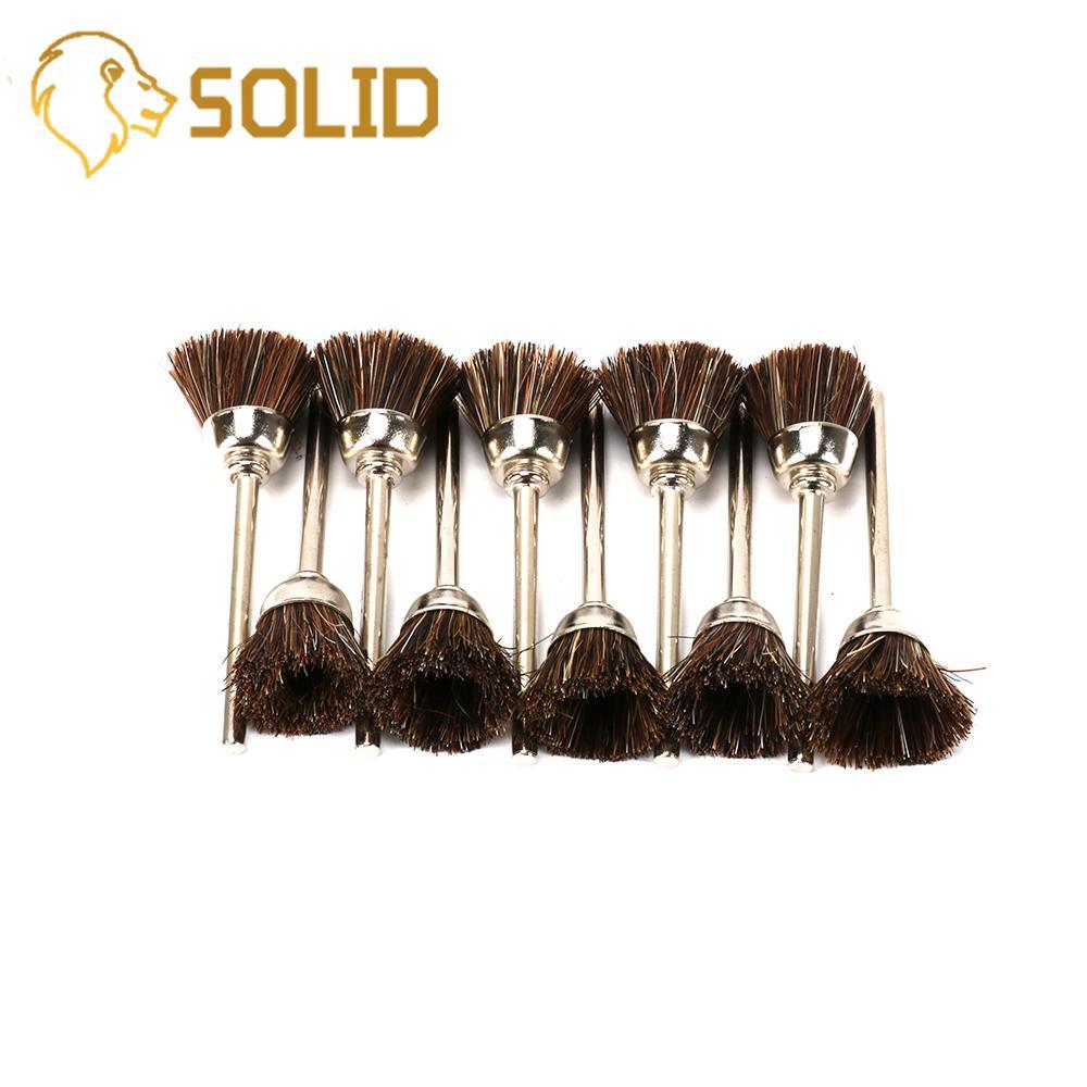 Ruedas de cepillo de taza de pulido de nailon suave marrón mango de 3mm pulido de Metal para Mini herramientas rotativas de taladro 10 unids/set