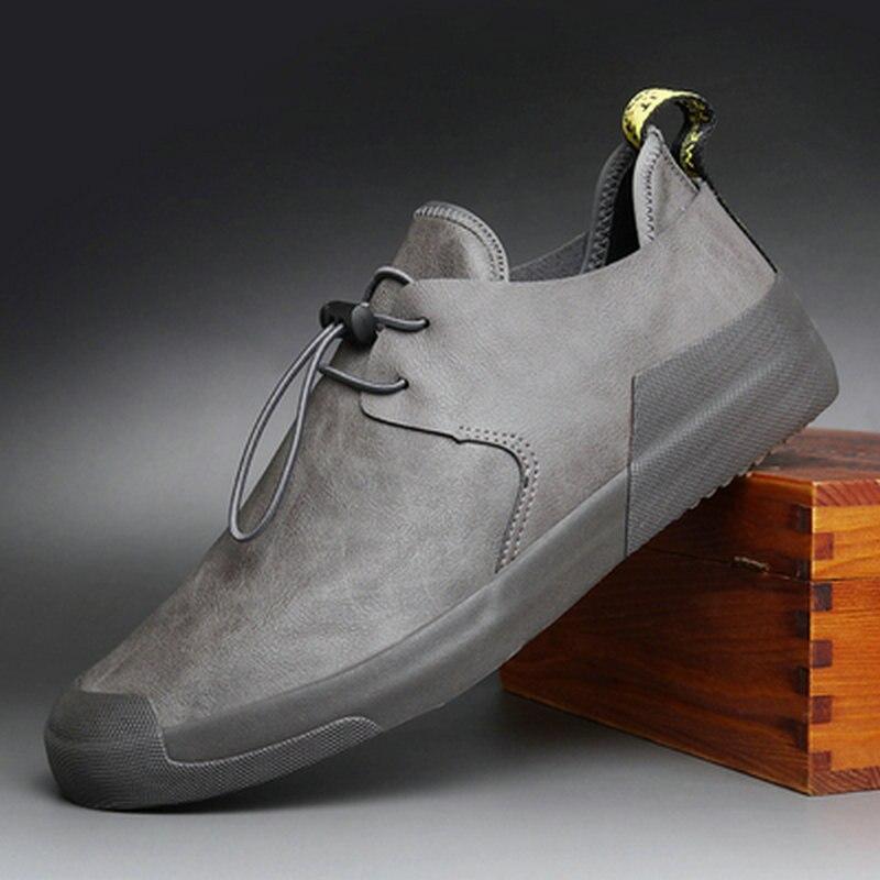 Mode chaussures plates pour homme chaussures vulcanisées Zapatos De Hombre noir Zapatillas hommes chaussures décontractées baskets en cuir A11-56
